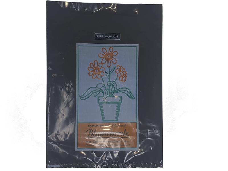 Erdbeutel, Schwarze PE-Folie, Mit 3-farbigen Neutraldruck