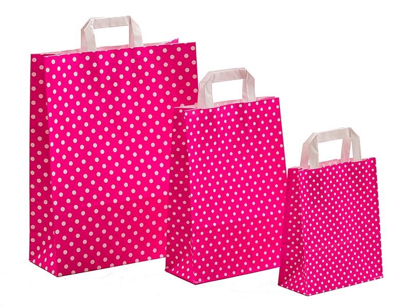 Papiertragetaschen Punkte pink