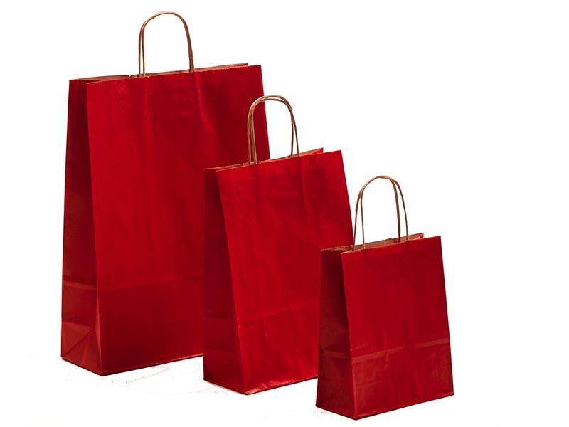 Papiertragetaschen mit Kordelhenkel rot