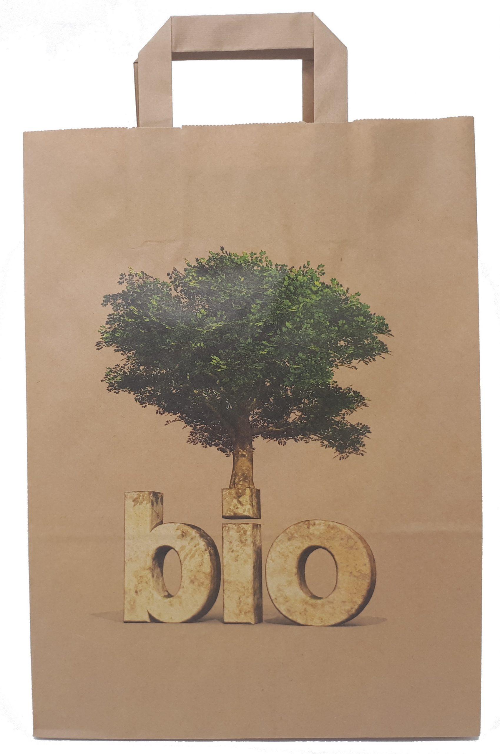 """Papiertragetaschen """"BIO"""", Braun, Naßfest, Mit Neutraldruck"""