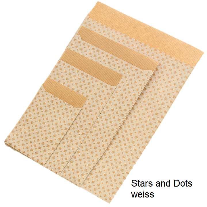 Geschenkflachbeutel Stars and Dots weiss