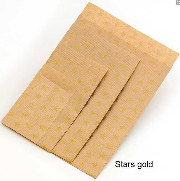 Geschenkflachbeutel Stars gold