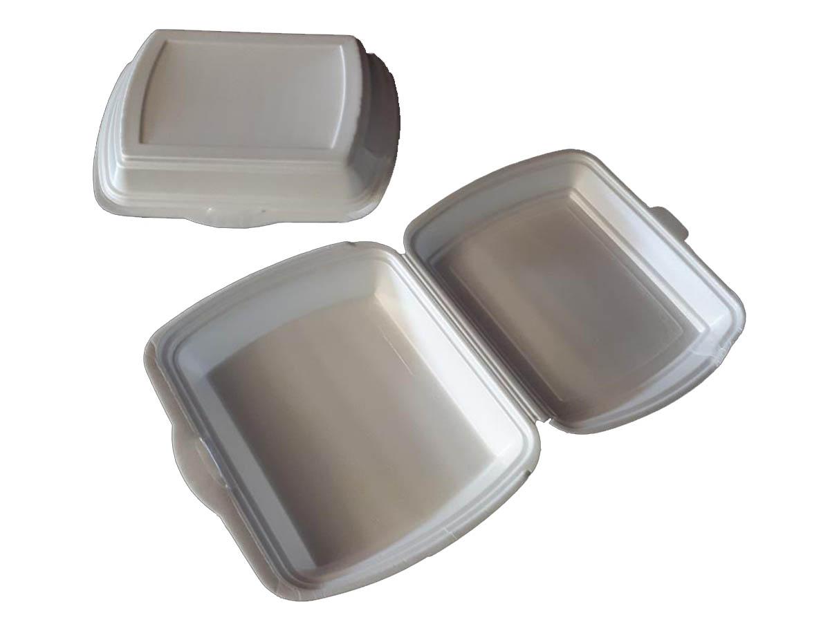 Menü-Boxen, Geschäumten Polystyrol, Weiß, Schnittfest, Laminiert, Gut Isolierend Mit Anhängendem Deckel, Hitzebeständig Bis 90°