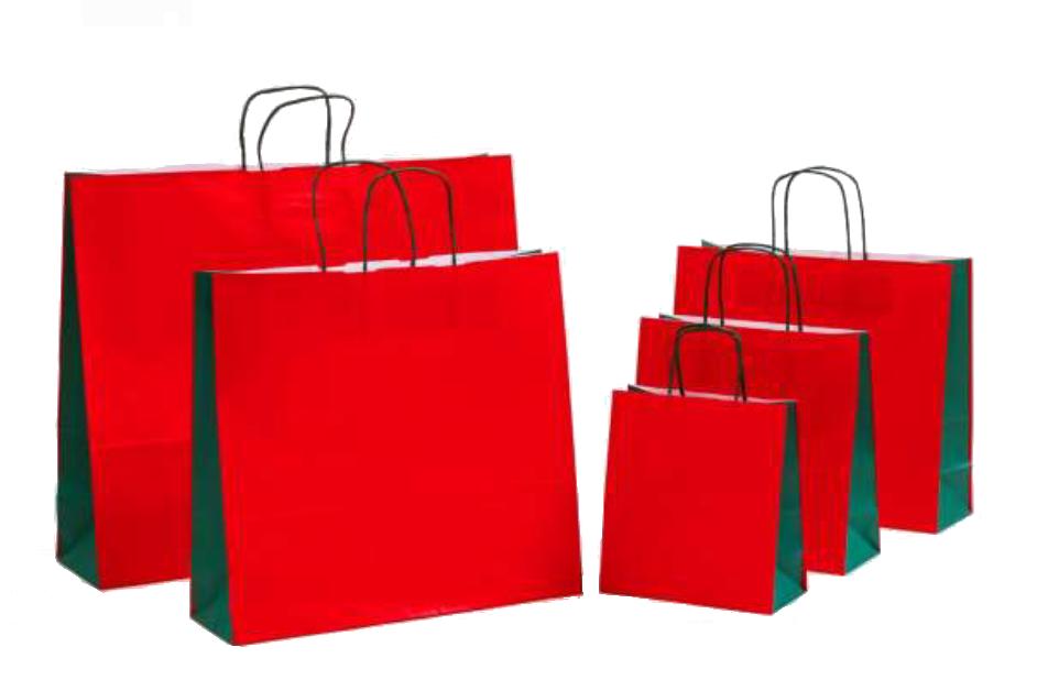 """Papiertragetaschen """"BASIC DUO ROT"""" Weiß Glatt Mit Grünem Kordelhenkel, Vollflächiger Rot/grüner Neutraldruck"""