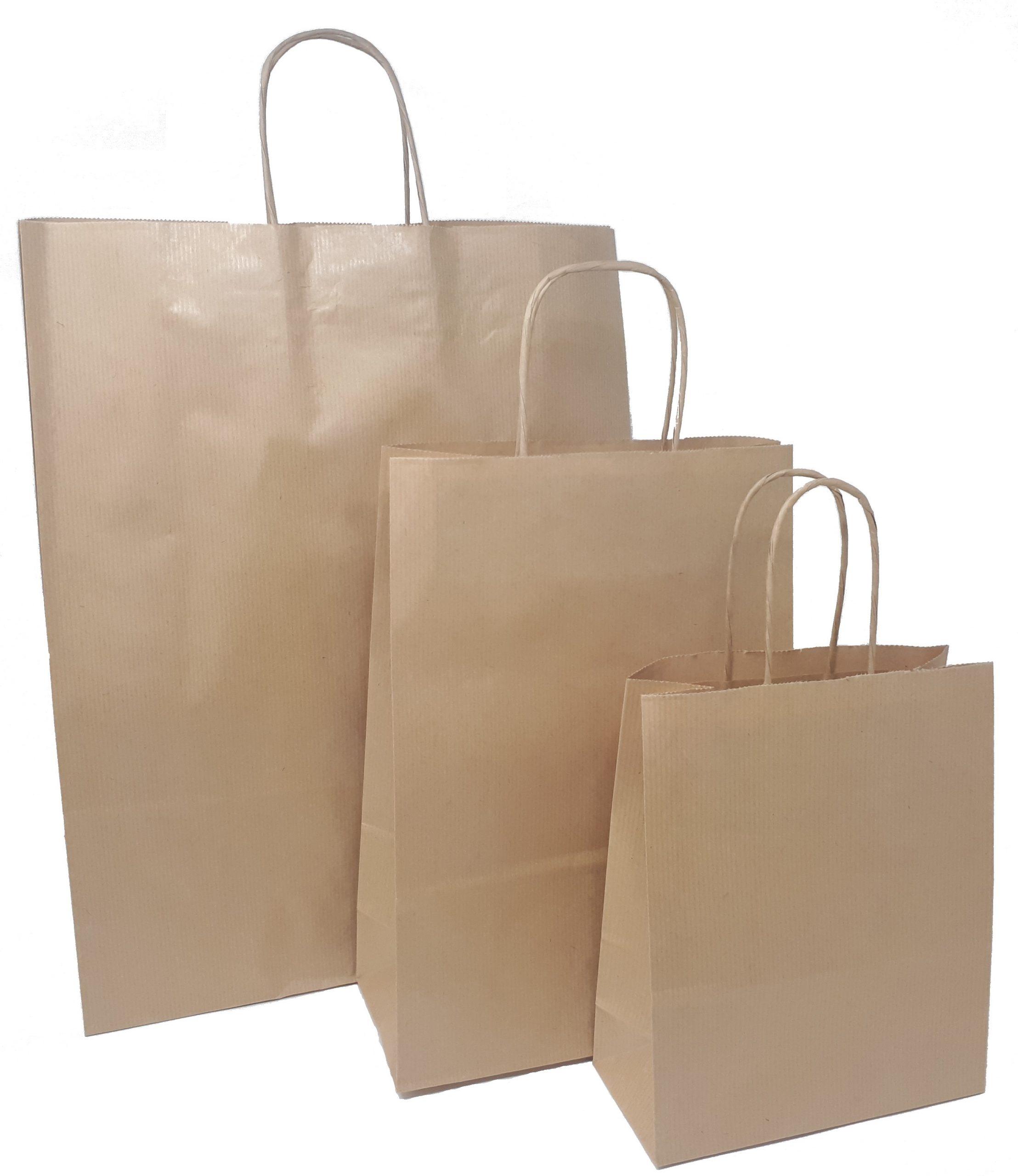 Papiertragetaschen braun mit Kordelhenkel
