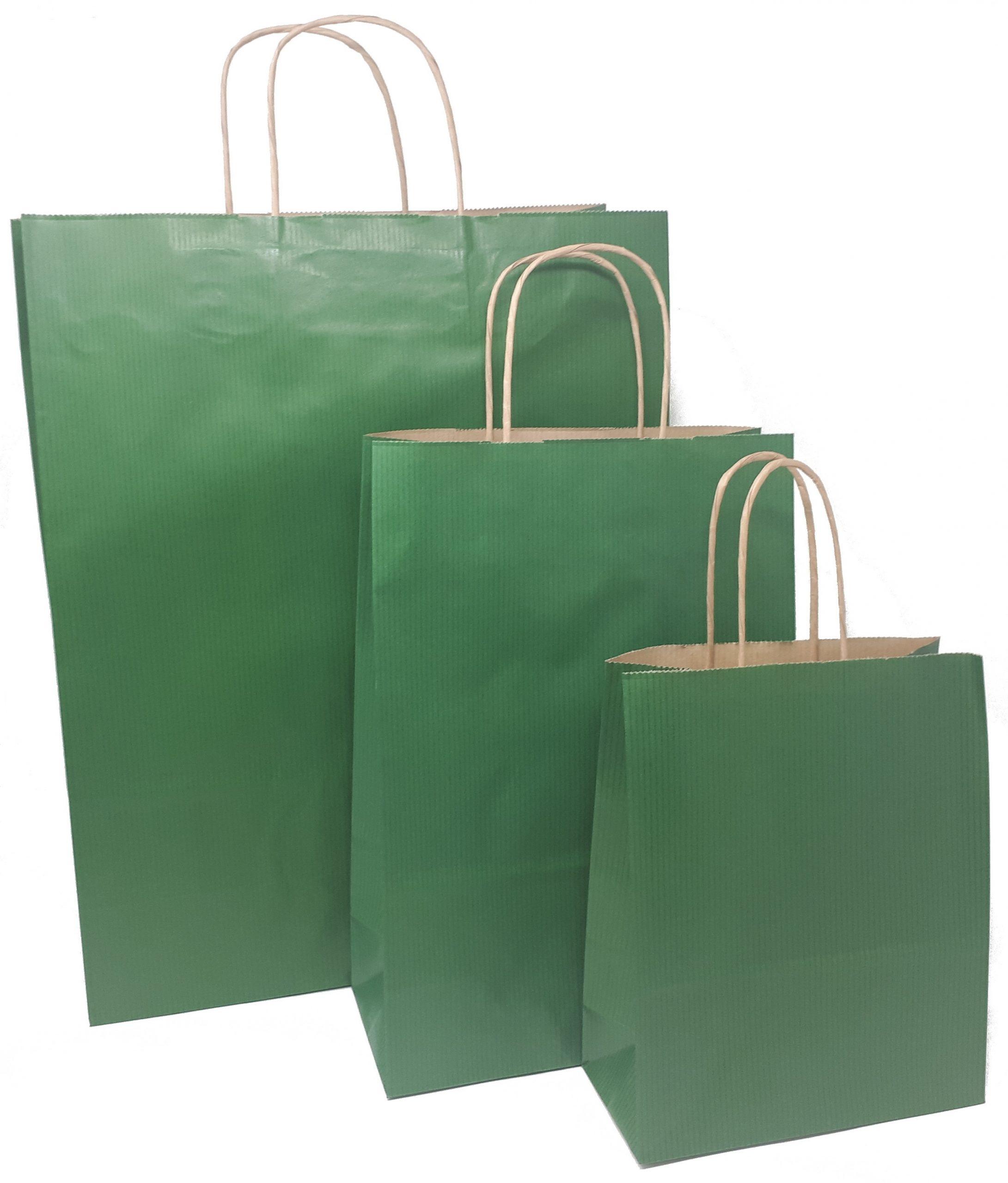 Papiertragetaschen grün mit Kordelhenkel