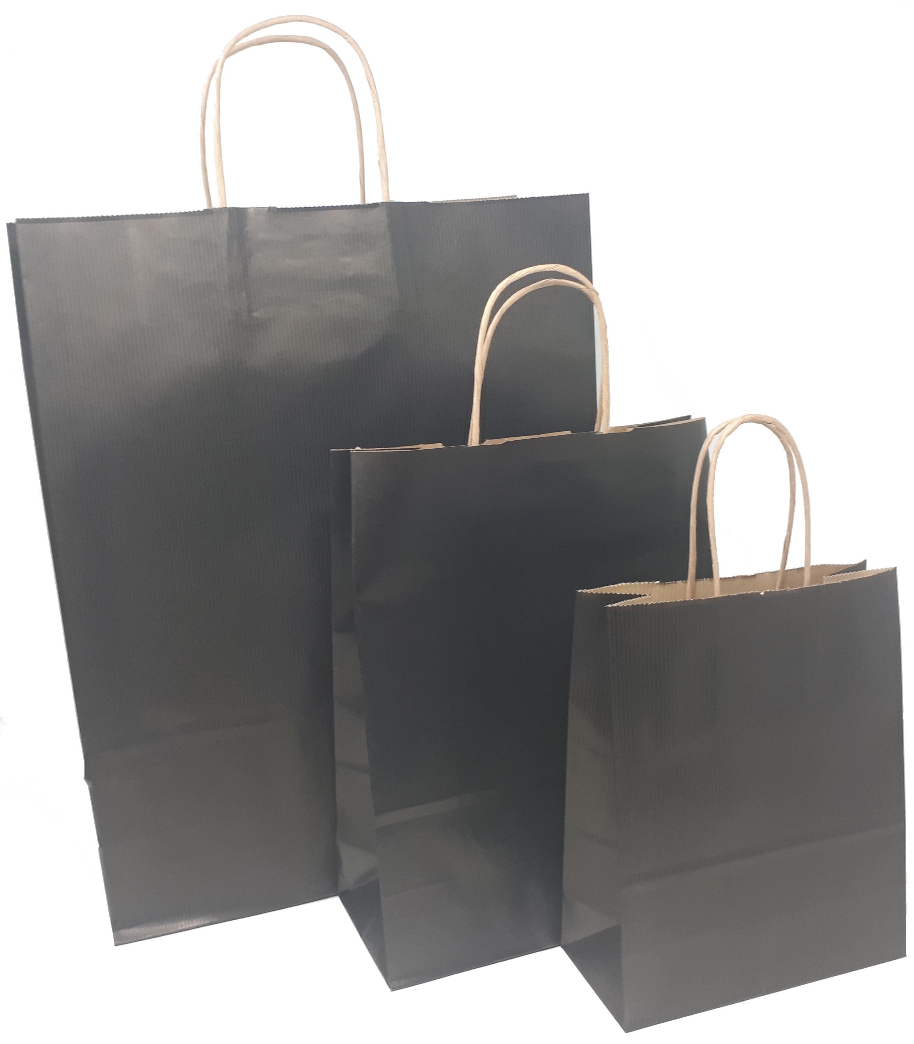 Papiertragetaschen schwarz mit Kordelhenkel