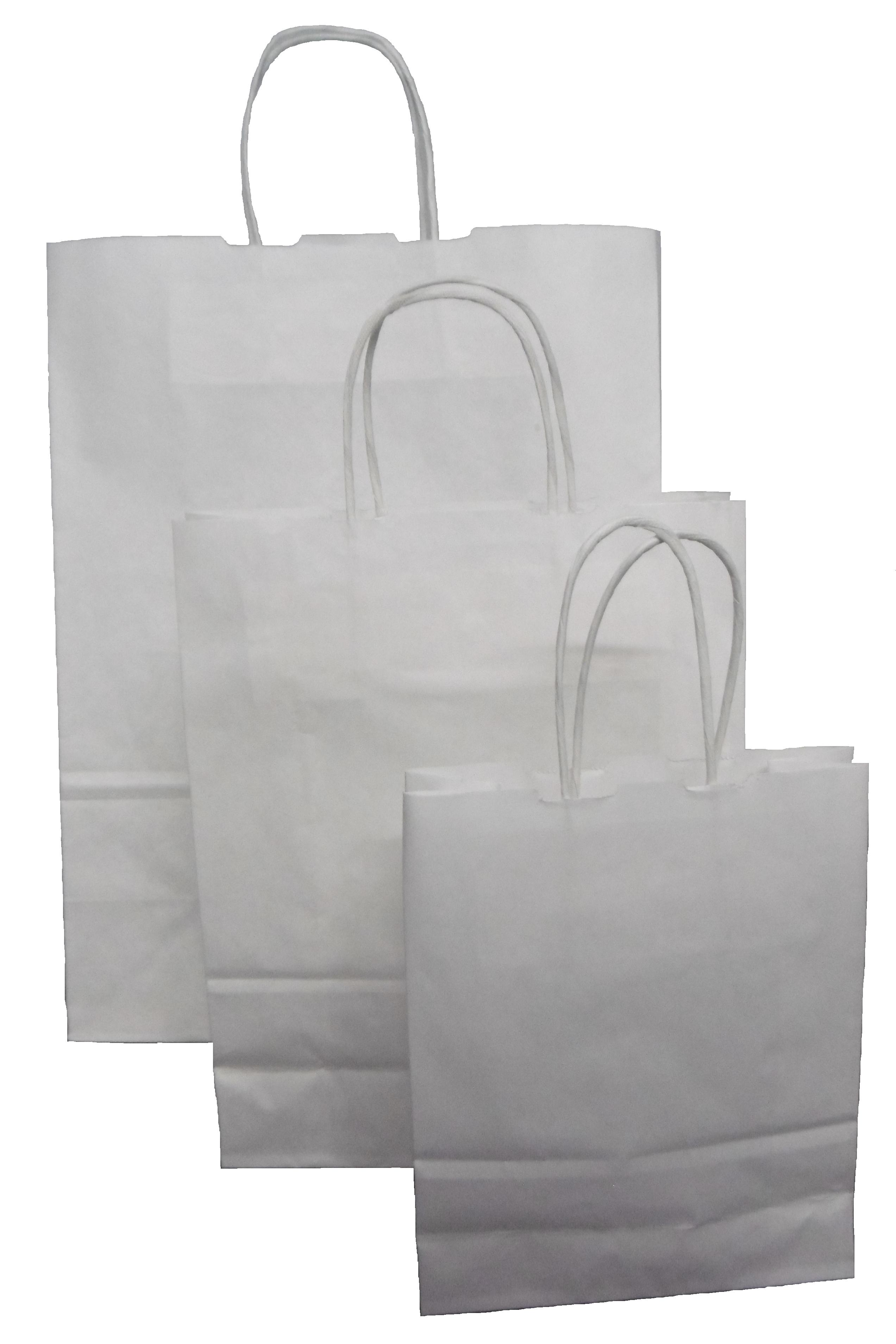 Papiertragetaschen weiß mit Kordelhenkel