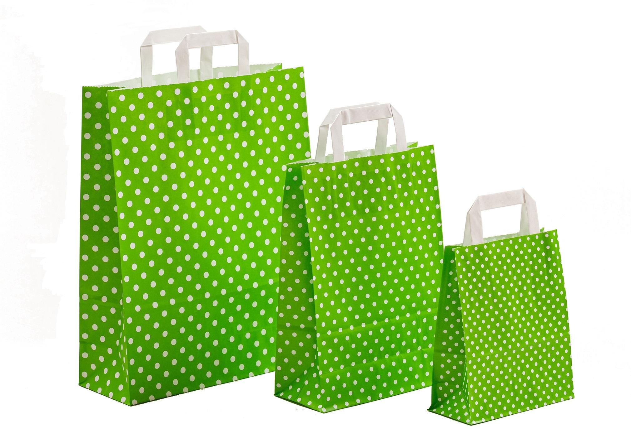 Papiertragetaschen Punkte grün