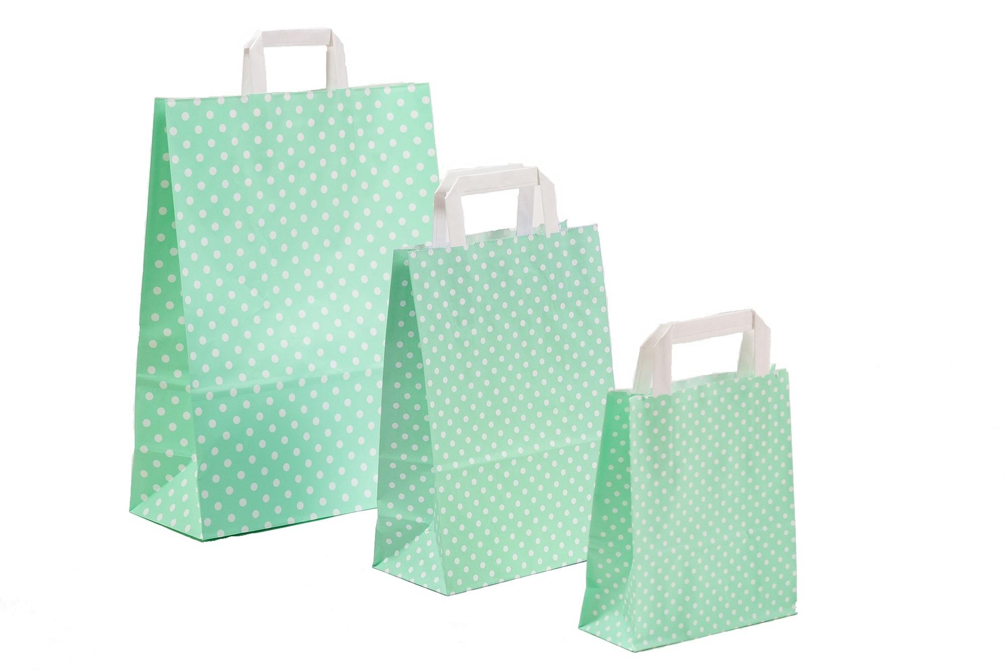 Papiertragetaschen Punkte mint
