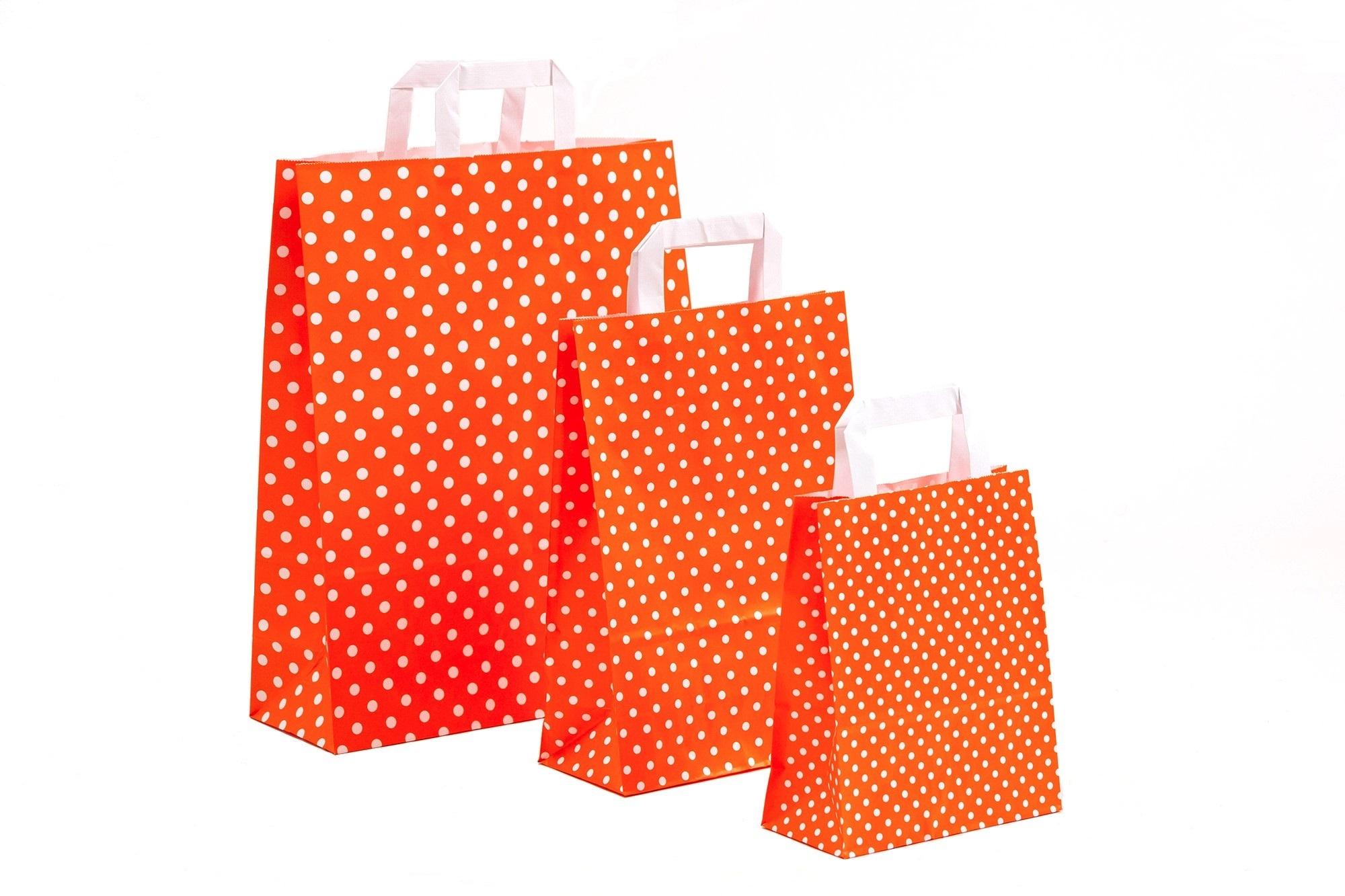 Papiertragetaschen Punkte orange