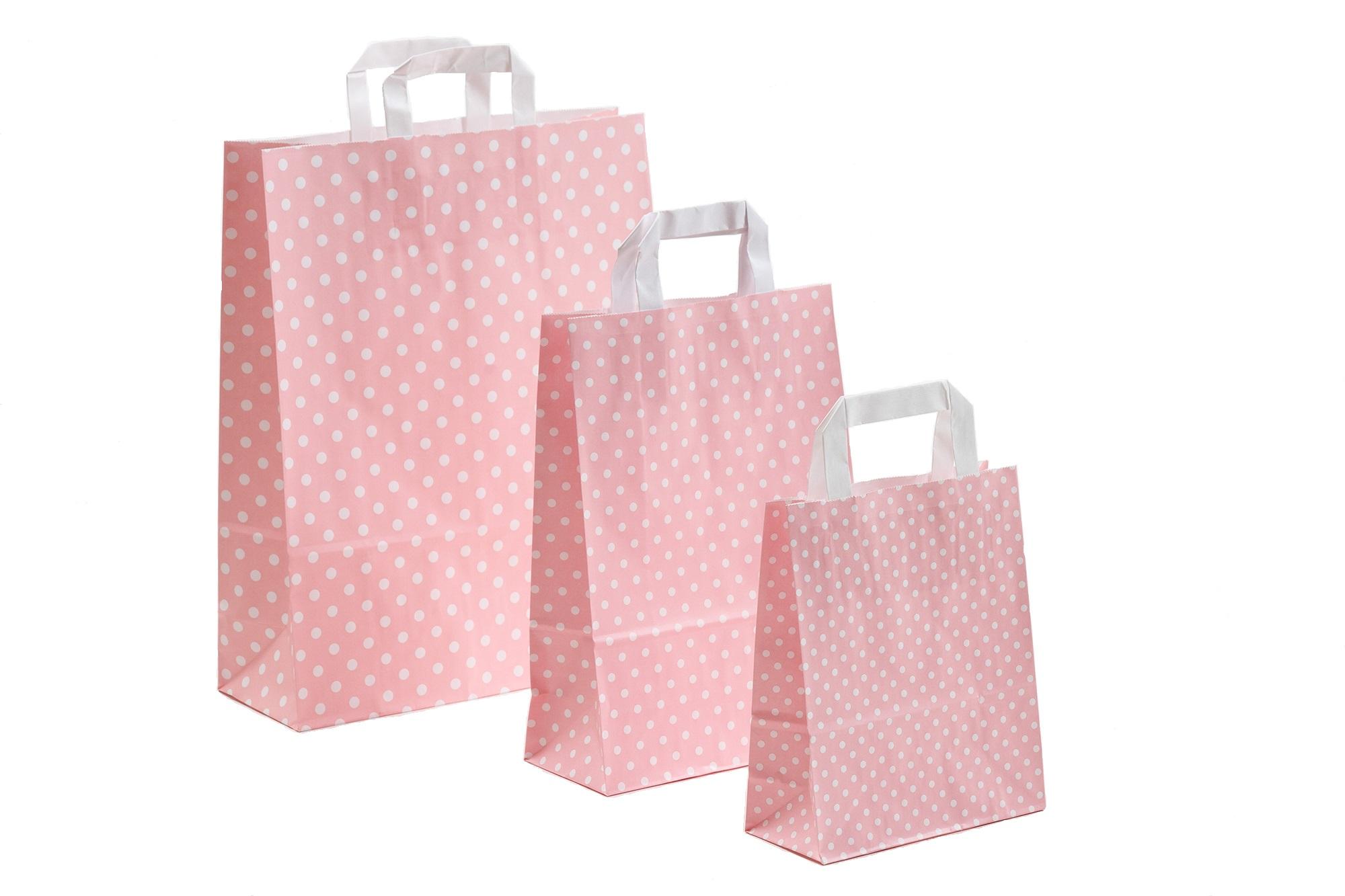 Papiertragetaschen Punkte rosa