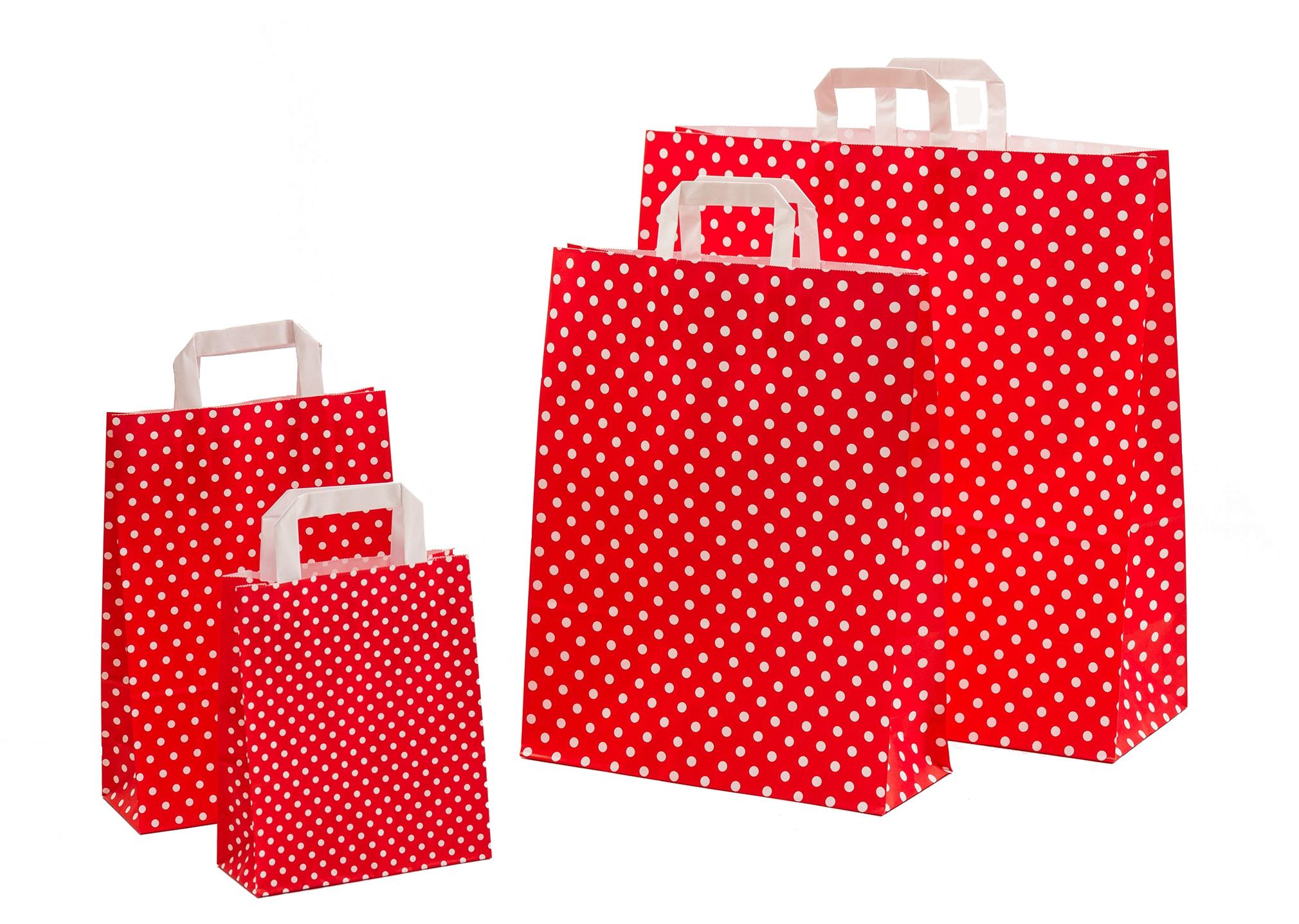 Papiertragetaschen Punkte rot