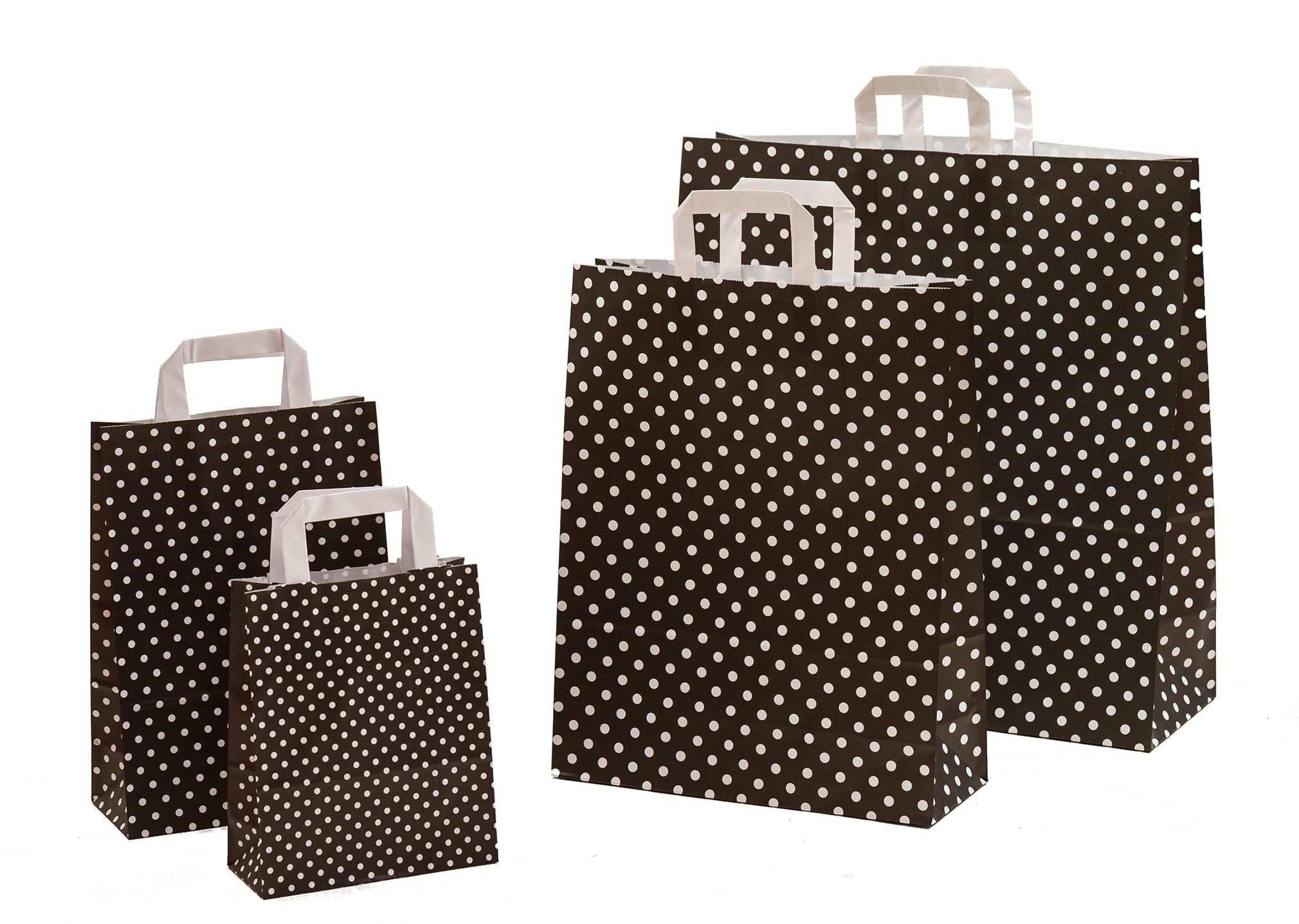 Papiertragetaschen Punkte schwarz