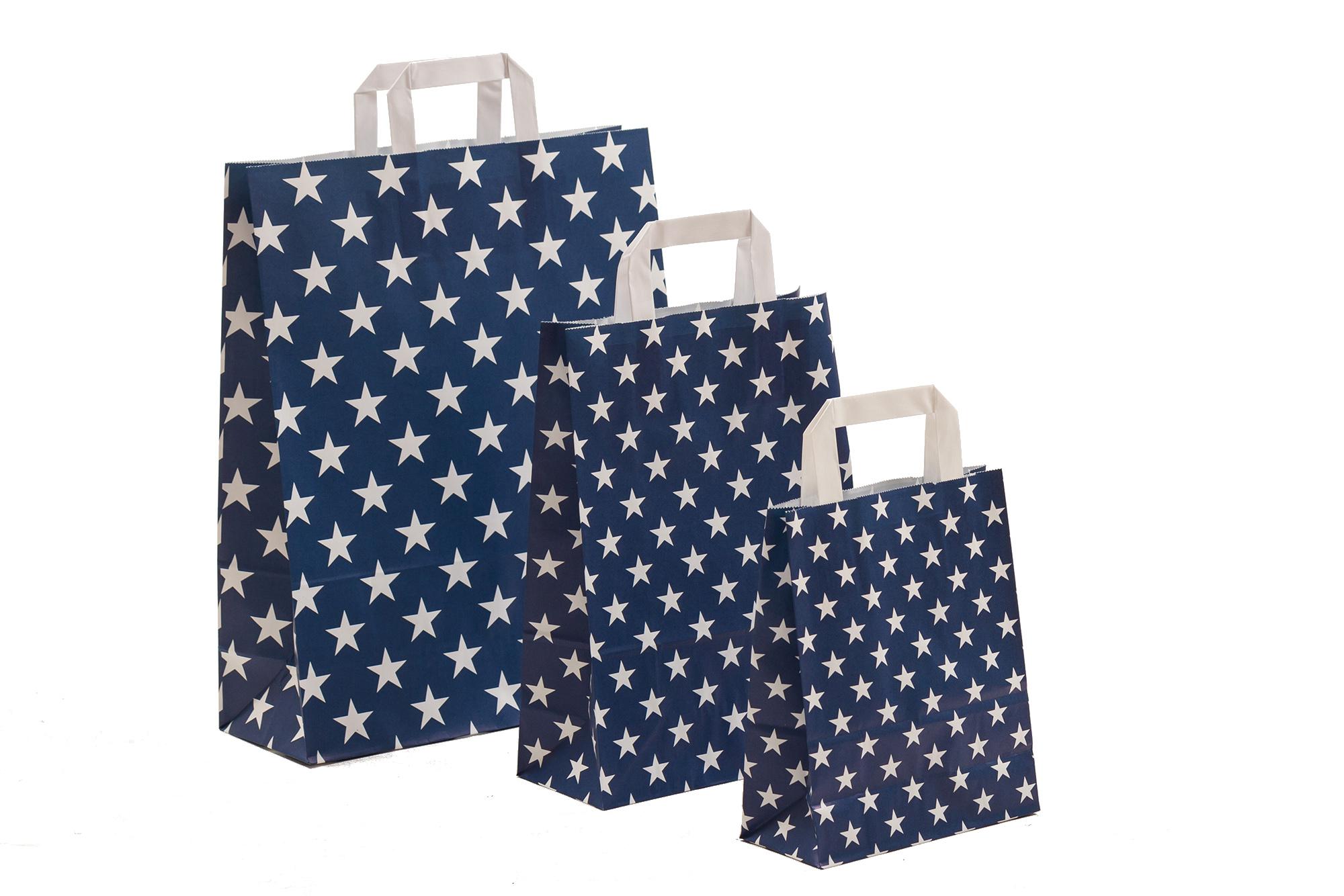 Papiertragetaschen Sterne blau