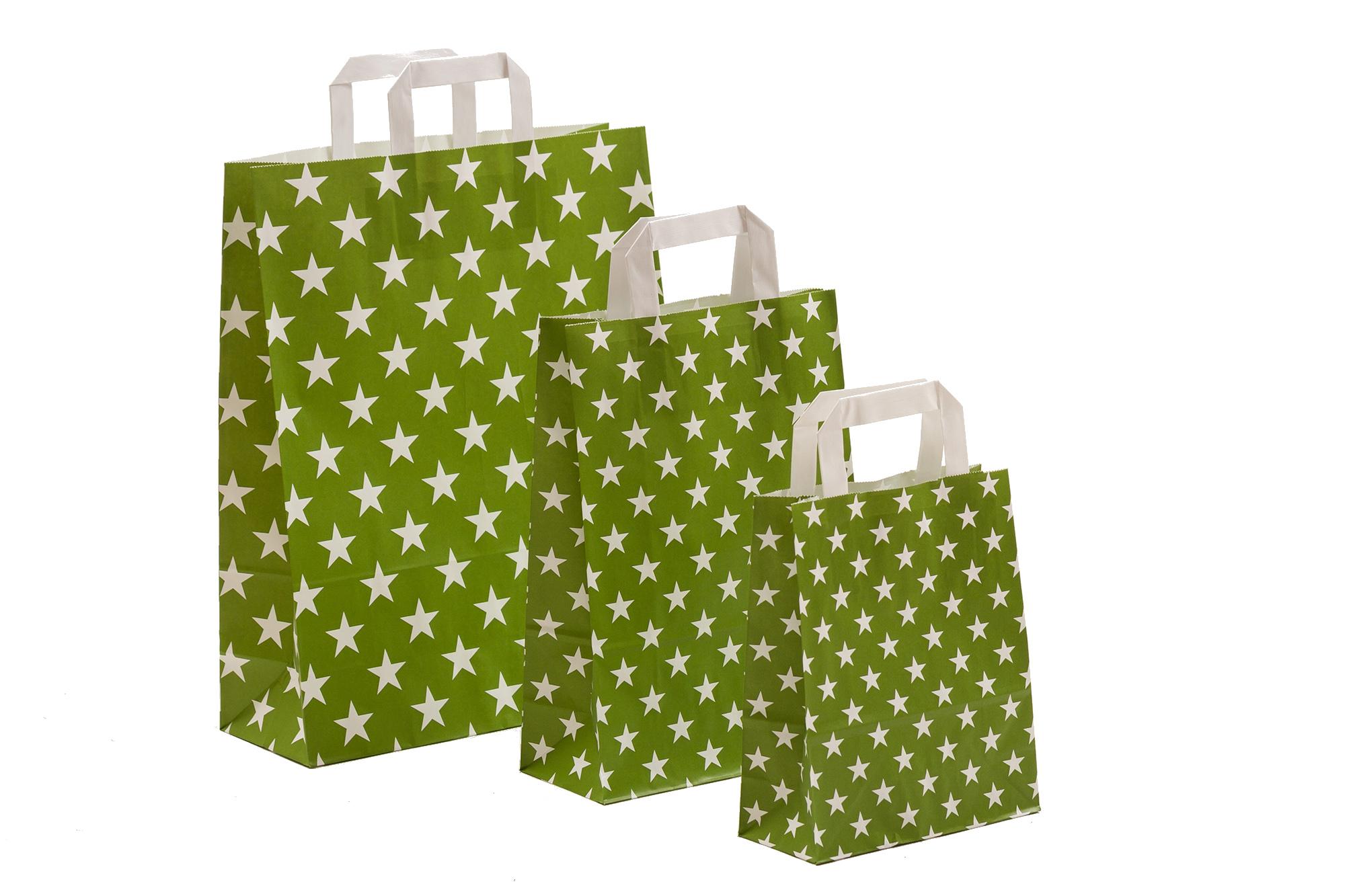 Papiertragetaschen Sterne grün