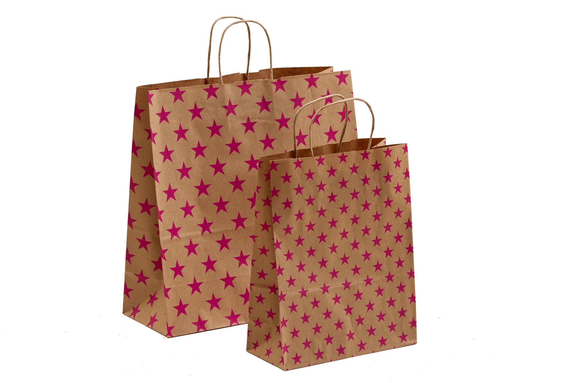 Papiertragetaschen Sterne pink mit Kordelhenkel