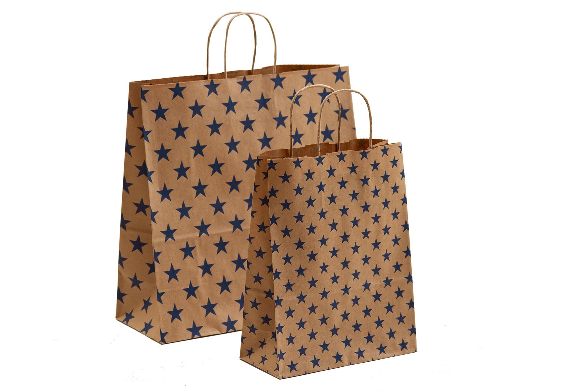 Papiertragetaschen Sterne blau mit Kordelhenkel