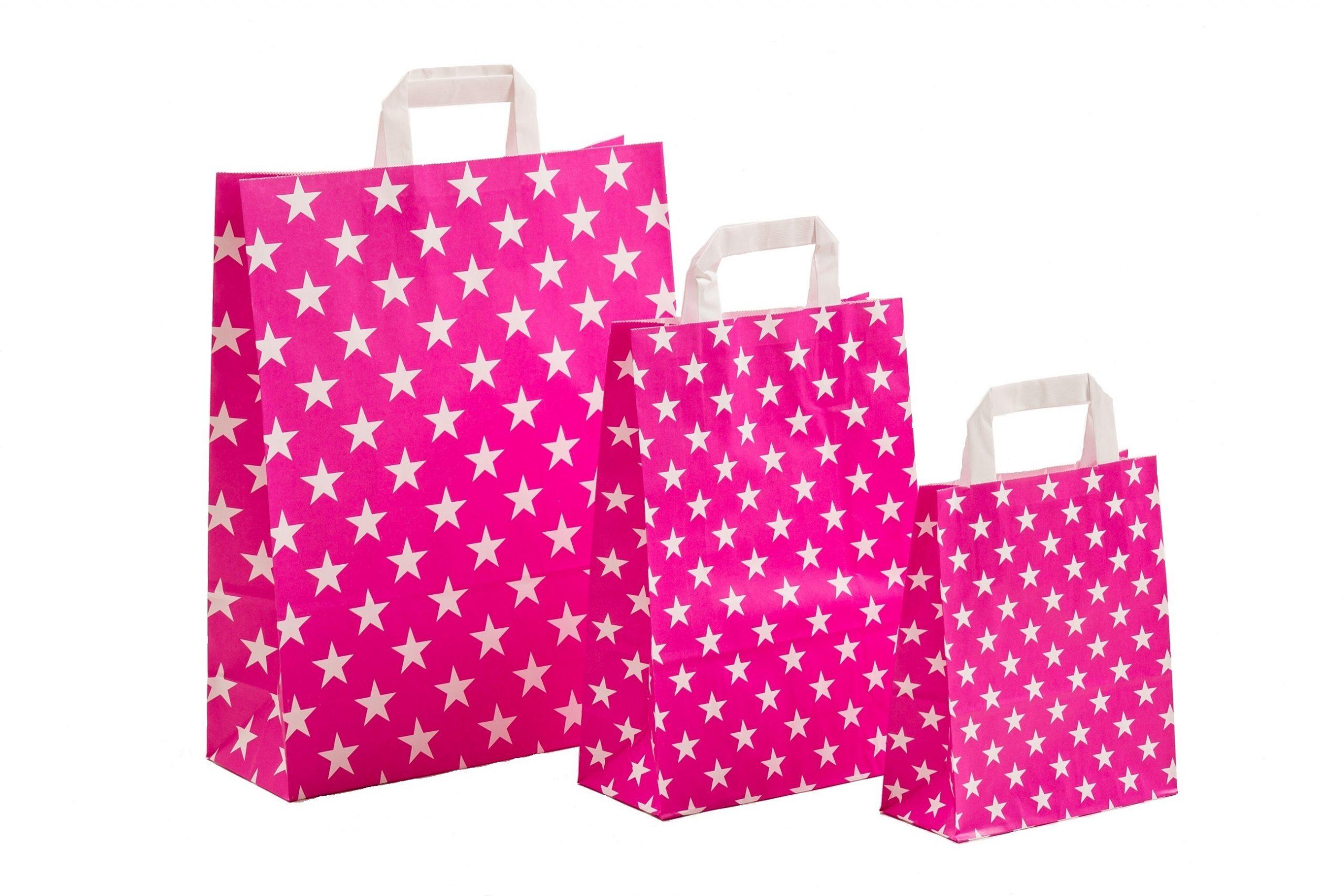 Papiertragetaschen Sterne pink