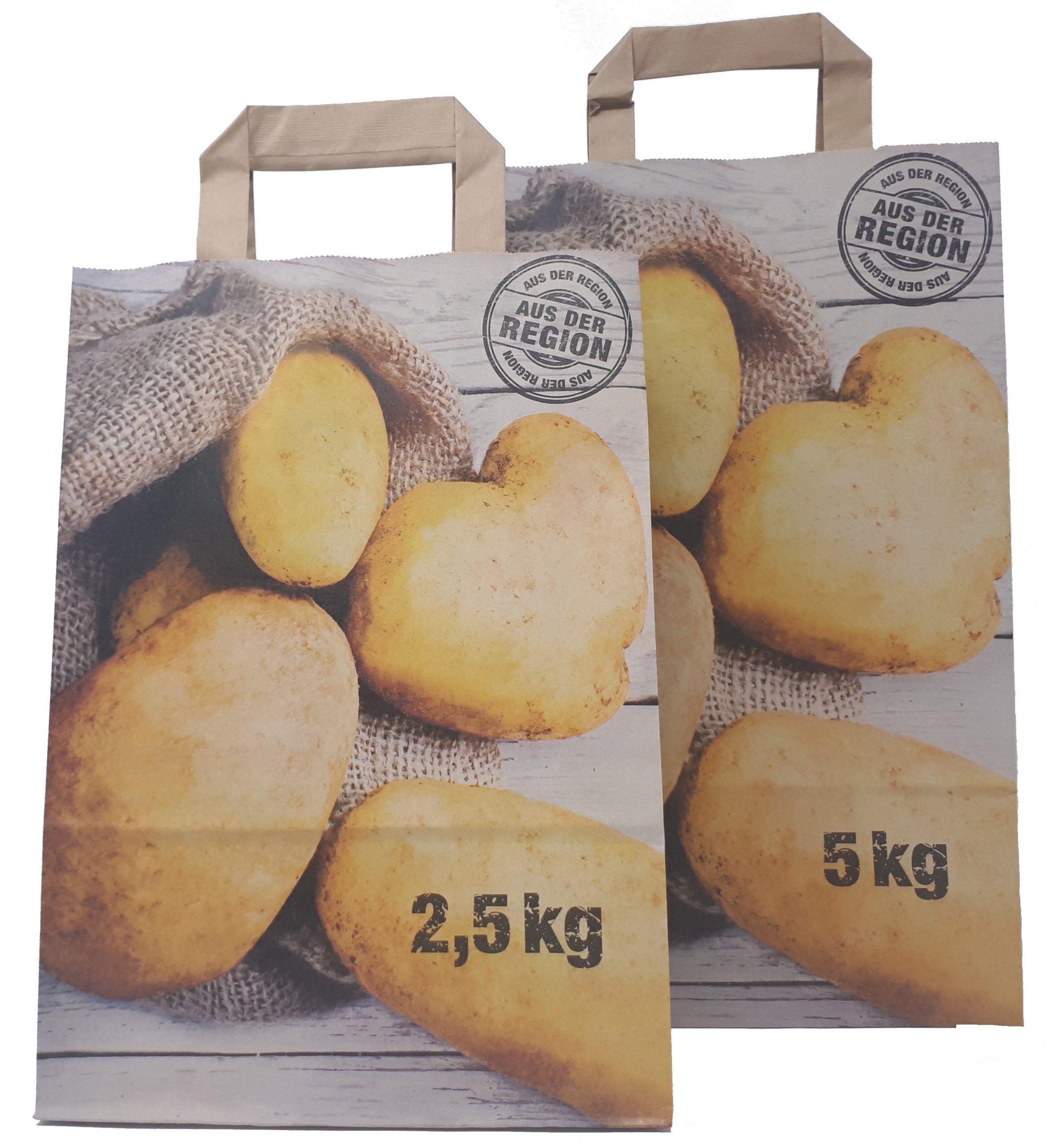 Papiertragetaschen Für Kartoffel Und Obst/Gemüse, Mit Neutraldruck