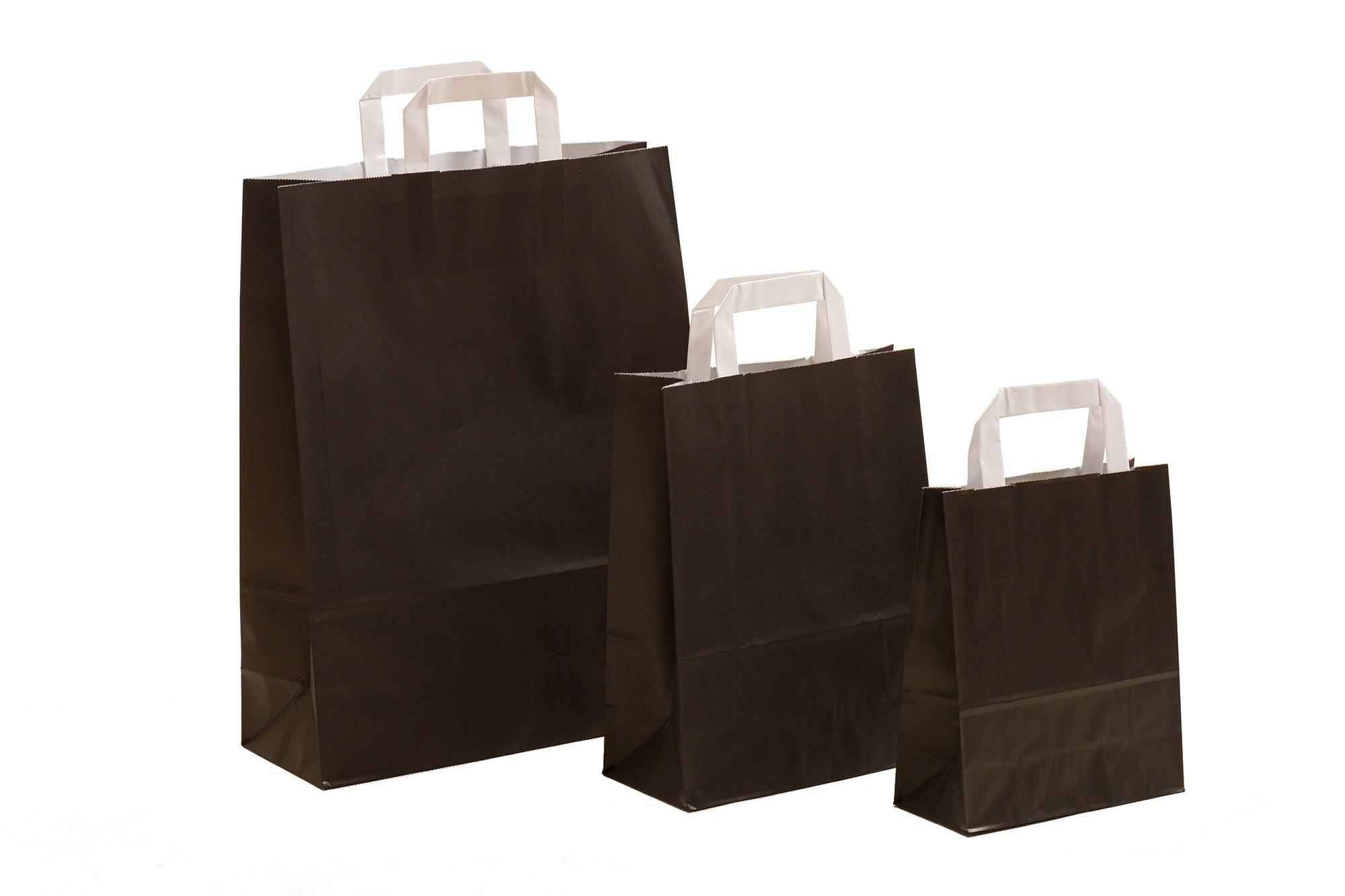 Papiertragetaschen Uni schwarz