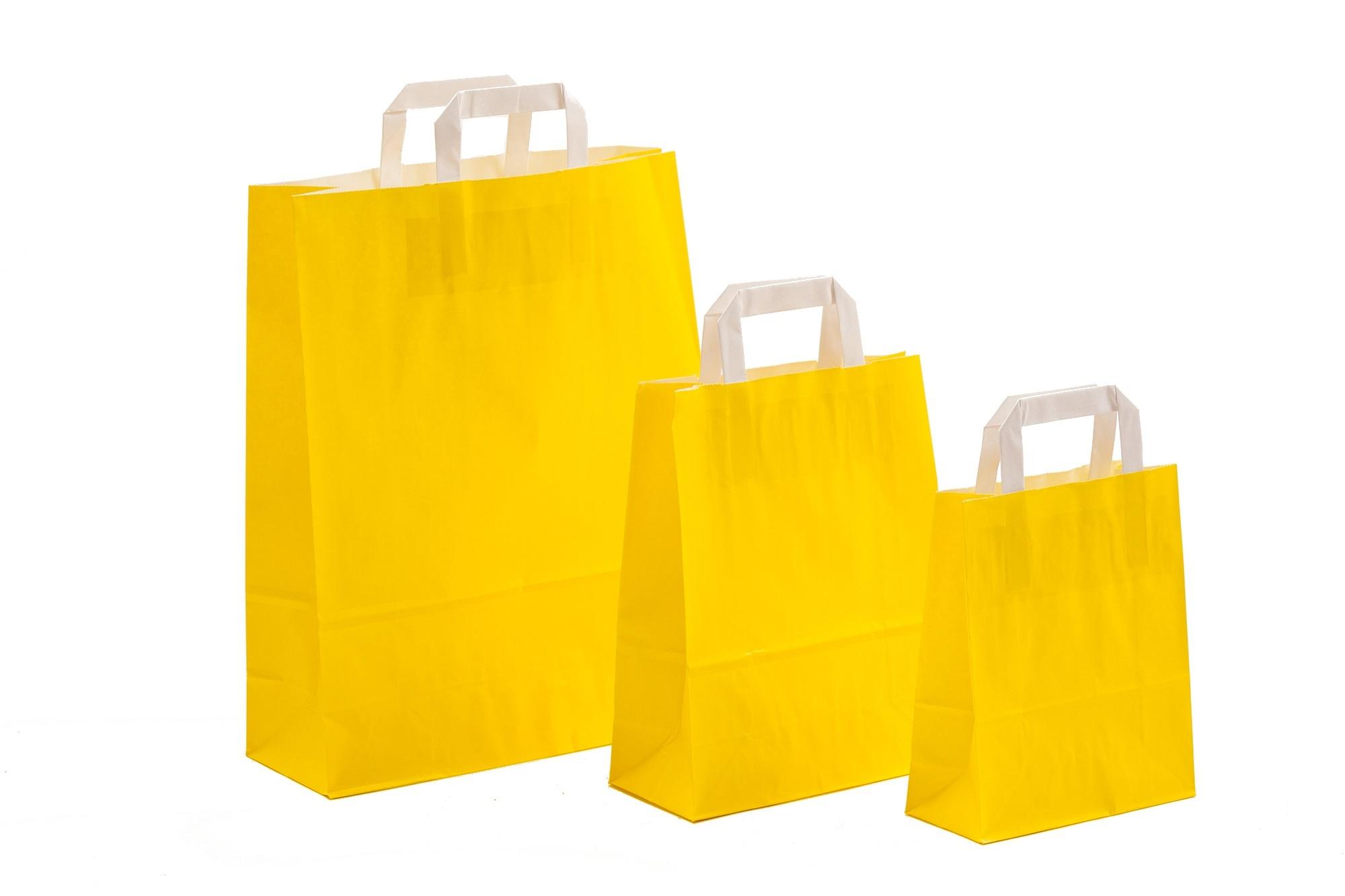 Papiertragetaschen UNI Gelb mit Innenflachhenkel