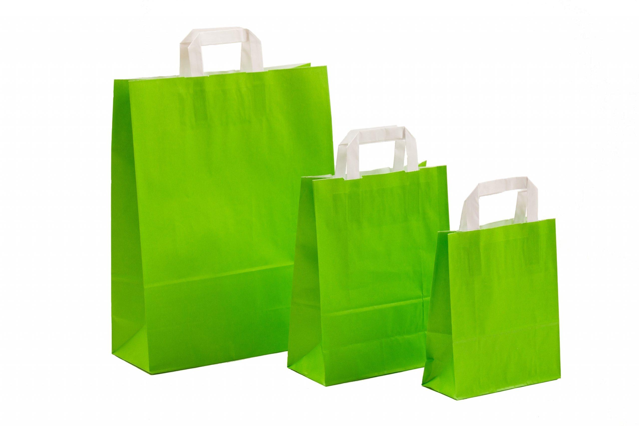 Papiertragetaschen UNI Grün mit Innenflachhenkel