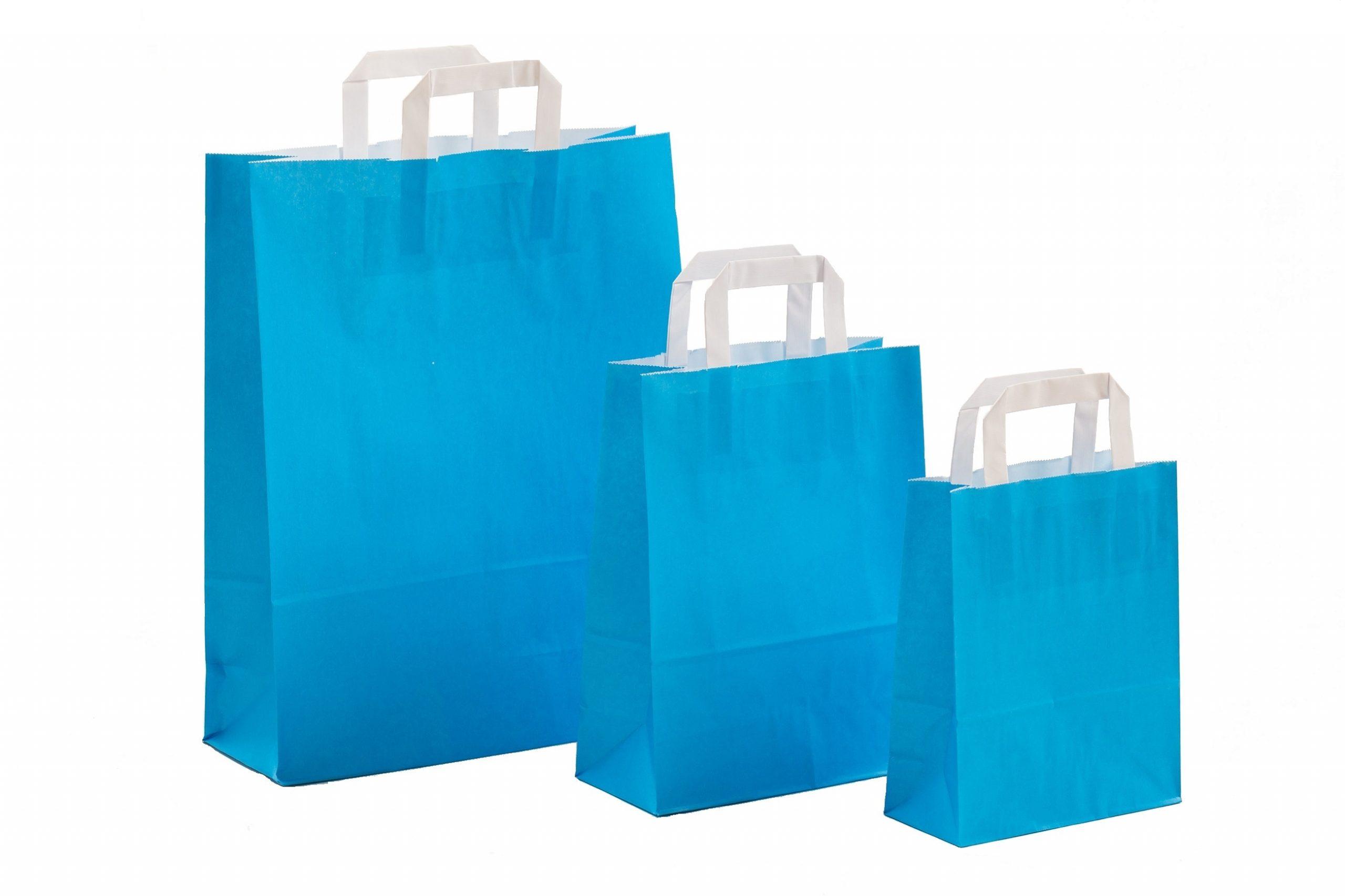Papiertragetaschen UNI Hellblau mit Innenflachhenkel