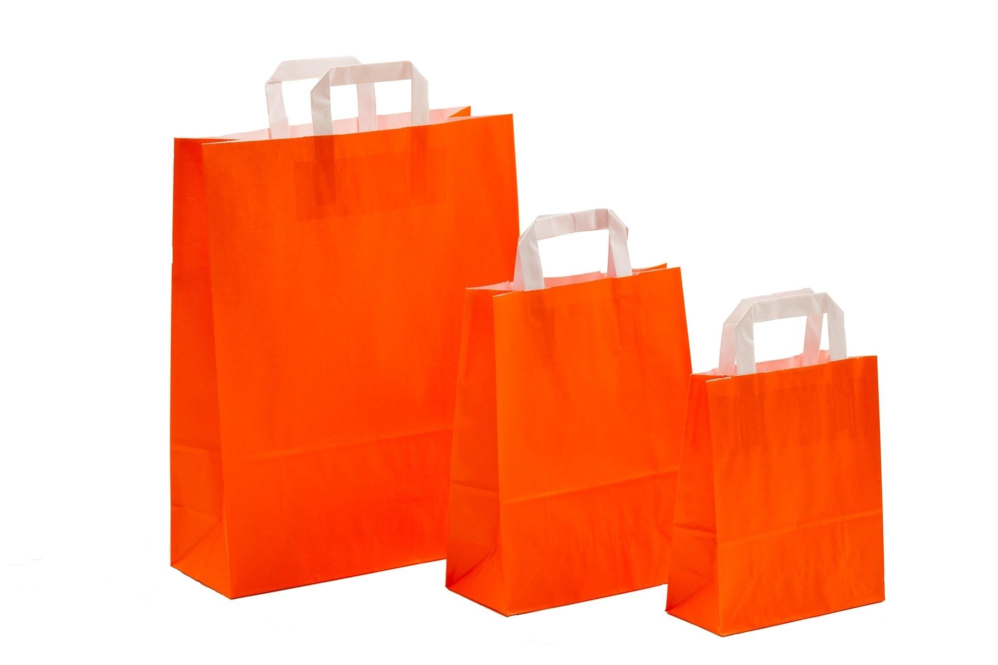 Papiertragetaschen UNI Orange mit Innenflachhenkel