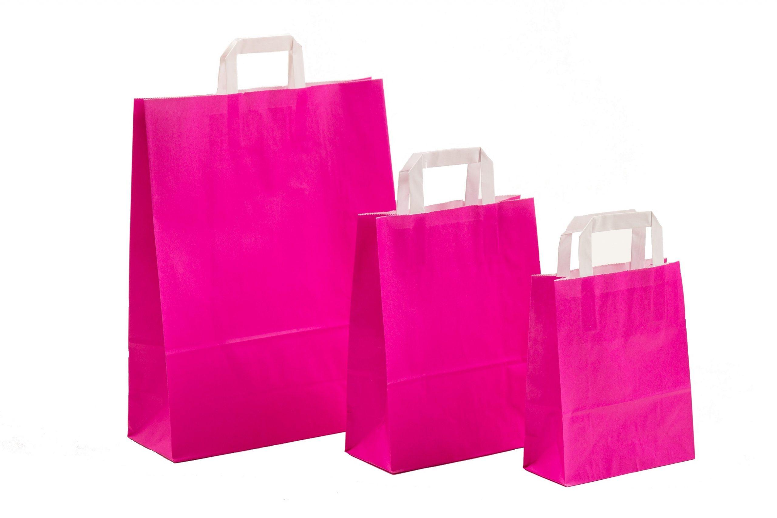 Papiertragetaschen UNI Pink mit Innenflachhenkel