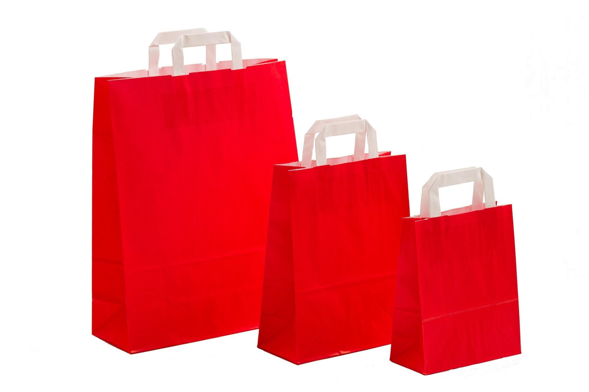 Papiertragetaschen UNI Rot mit Innenflachhenkel
