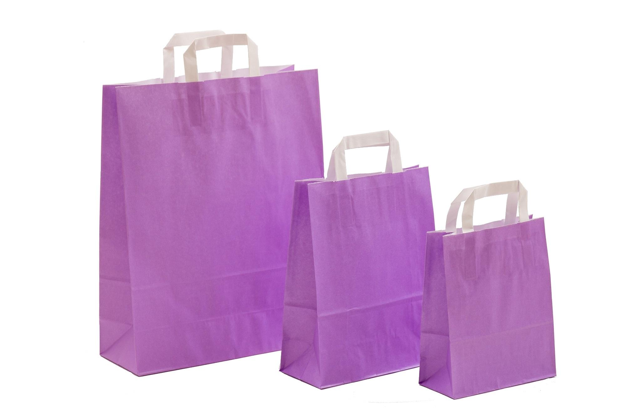 Papiertragetaschen UNI Violett mit Innenflachhenkel