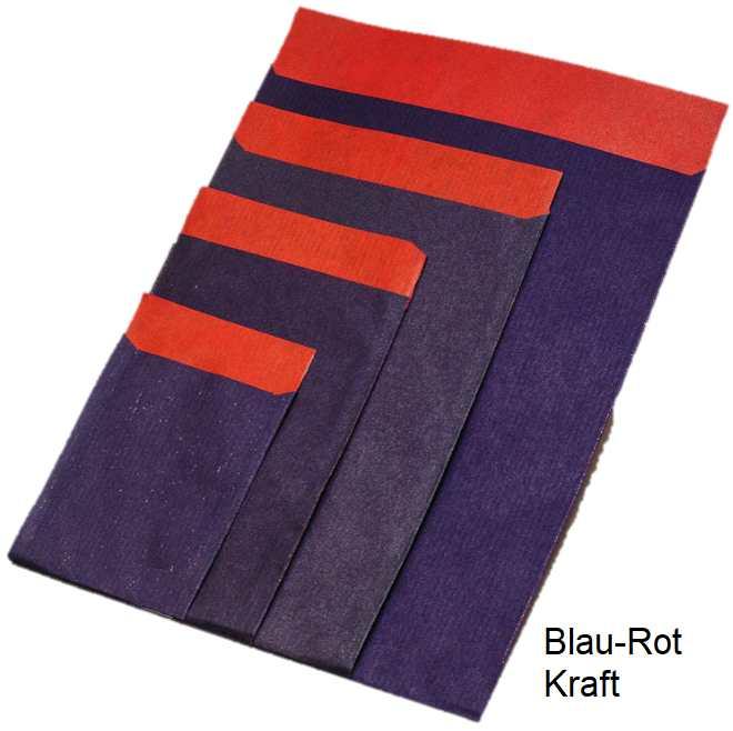 Geschenflachbeutel blau-rot Kraft