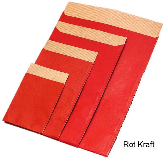 Geschenkflachbeutel Kraft rot