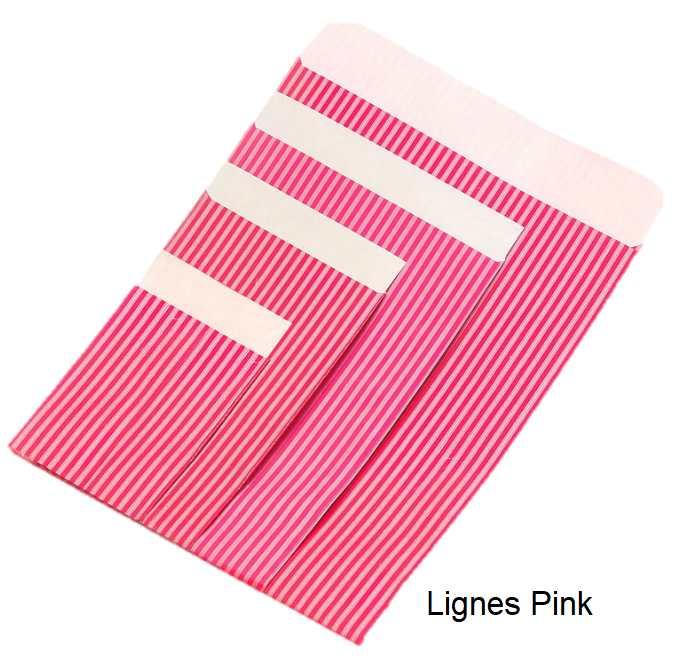 Geschenkflachbeutel Lignes Pink