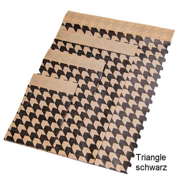 Geschenkflachbeutel Triangle schwarz