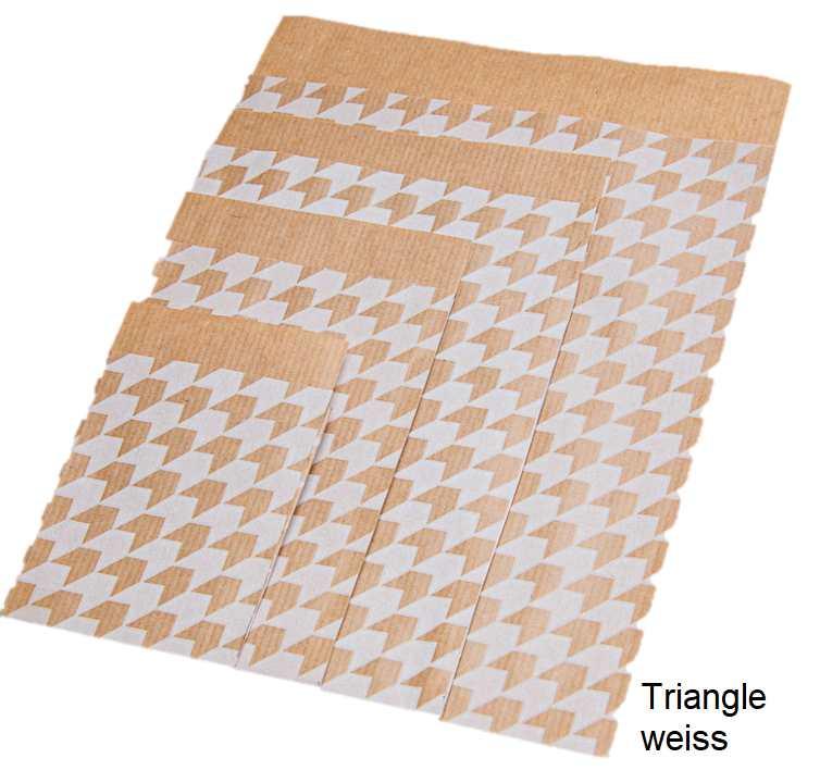 Geschenkflachbeutel Triangle weiss